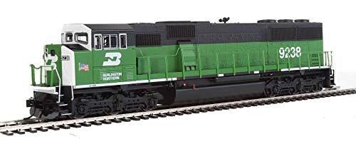 EMD SD60M WITH 3-PIECE WINDSHIELD - ESU(R) SOUND & DCC -- BURLINGTON NORTHERN 9238 (GREEN, BLACK, WHITE FRONT W/SMALL US FLAG)
