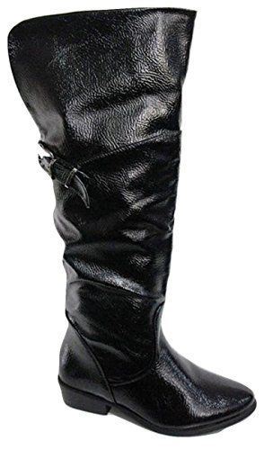 CHIX Patent Fold Over Knee High Boots 6114-04 Black uboLUr