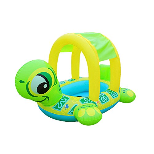 Coohole New Turtle Sunshade Baby Infant Float Seat Car Boat Inflatable Swim Ring Pool