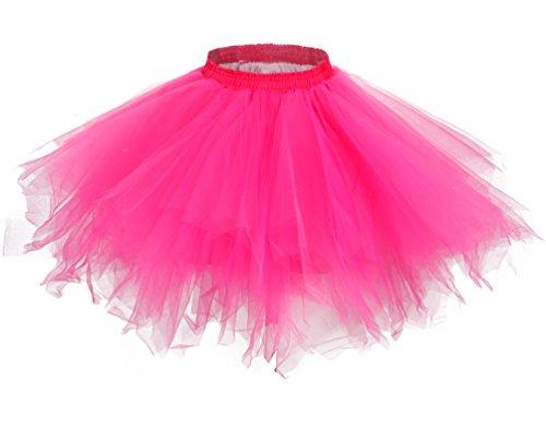 MsJune Women's 1950s Vintage Petticoats Crinolines Bubble Tutu Dance Half Slip Skirt Fuchsia-L/XL -