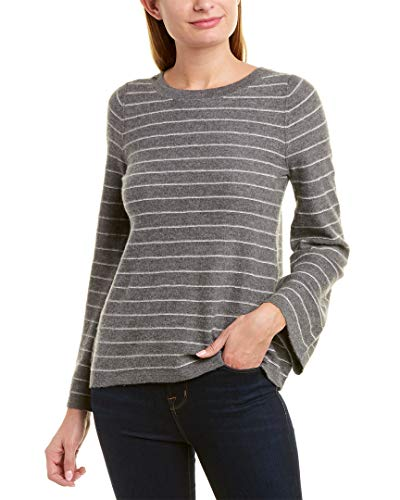 Vince Women's Bell Sleeve Cashmere Pullover, Heather Stone, Grey, Stripe, Small