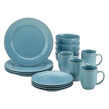 Rachael Ray 55093 Cucina 16-Piece Stoneware Dinnerware Set, Agave Blue