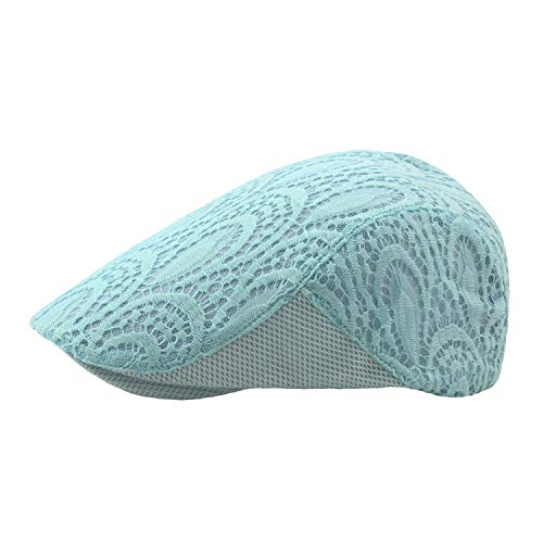 MEIZOKEN Spring Summer Women Newsboy Cap Hat Breathable Mesh Lace British Style Adjustable Ivy Flat Hats,Sky Blue,55-59cm
