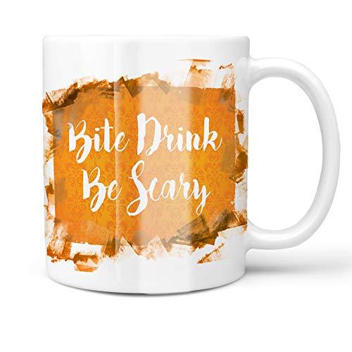 Neonblond 11oz Coffee Mug Bite Drink Be Scary Halloween Orange Wallpaper with your Custom -