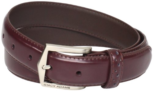 Logoed Mens Belt Buckle - Stacy Adams Men's 32 MM Pinseal Leather Belt with Brushed Nickel Buckle