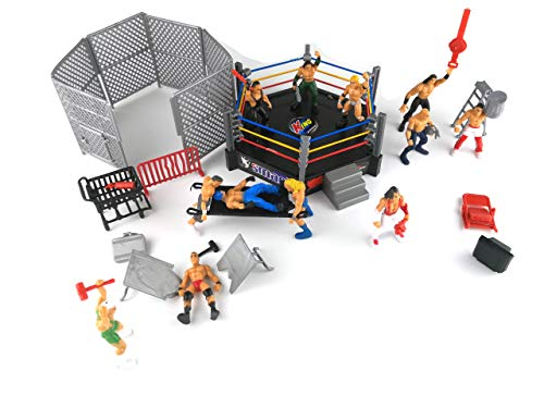 HAPTIME 32 Pieces Mini Wrestling Playset Include 12 Miniature Action Figure Wrestling Players and Multiple Realistic Accessories for Kids Children ()