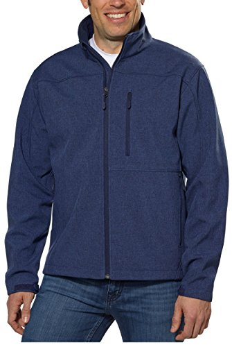 Kirkland Men's 4-Way Stretch SoftShell Jacket All-season Front Full-Zip (Medium, Blue) (Stretch Shell Soft Jacket)