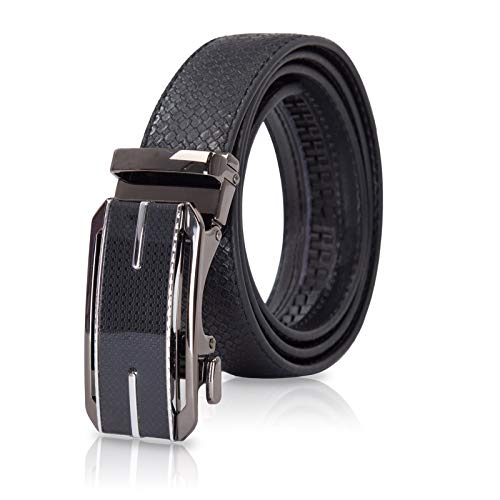 (Men's Genuine Leather Ratchet Dress Belt with Automatic Buckle Size M)
