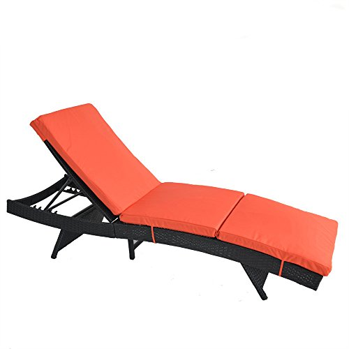 Outdoor Patio Black Rattan Wicker Adjustable Cushioned Chaise Lounge Chair(Orange Cushion)
