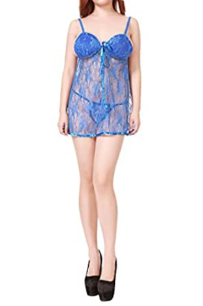 Am Clothes Women's Sexy Lace Babydoll Lingerie Sets with G-string
