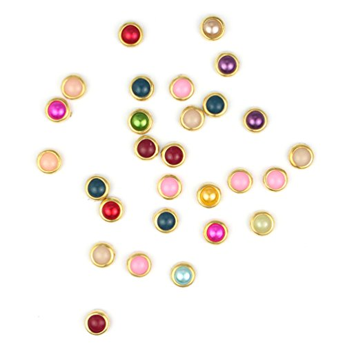 Glow Nail Art Decorations; Mix Colours/ Pearl Shape Design; Approx 84 pieces; 2mm (NA83)