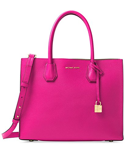 MICHAEL Michael Kors Womens Mercer Leather Shopper Tote Handbag Pink Medium ()