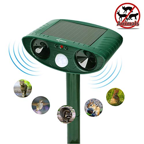 ZOVENCHI Ultrasonic Animal Repeller, Solar Powered Repeller with Motion Sensor Ultrasonic and Red Flashing Lights Outdoor Waterproof Farm Garden Yard, Repel Cats, Dogs, Foxes, Birds, Skunks, Rod ...