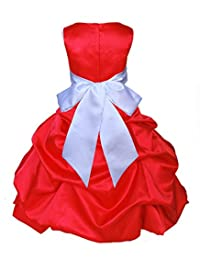 Wedding Pageant Red Flower Girl Dress Christmas Party Toddler 806s