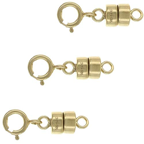 Sparik Enjoy 3 Pack-.14K Gold 4mm Strong Earth Magnetic Converter Connector for Necklaces, Bracelets, Anklets with 5mm Spring Ring Jewelry Clasps (3 Pack 14K Gold) ()