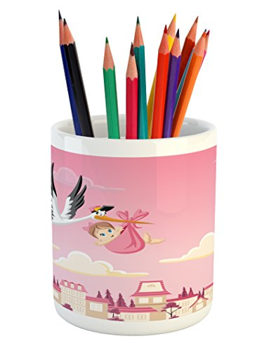 Lunarable Baby Shower Pencil Pen Holder, Stork Delivering a Baby Girl Newborn Cartoon Pink Shaded Sky Fairy Tale Design, Printed Ceramic Pencil Pen Holder for Desk Office Accessory, Multicolor