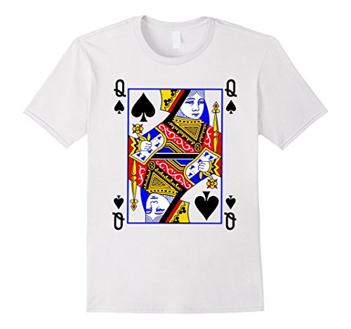 Men's Queen of Spades Playing Card Poker Costume Card Tee Shirt Small White (Playing Card Costumes)