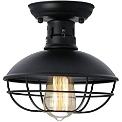 KingSo Industrial Metal Cage Ceiling Light, E26 Rustic Mini Semi Flush Mounted Pendant Lighting Dome/Bowl Shaped Lamp Fixture for Country Hallway Kitchen Garage Porch Bathroom