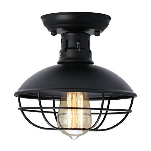KingSo Industrial Metal Cage Ceiling Light, E26 Rustic Mini Semi Flush Mounted Pendant Lighting Dome/Bowl Shaped Lamp Fixture Farmhouse Style for Hallway Kitchen Garage Porch ()