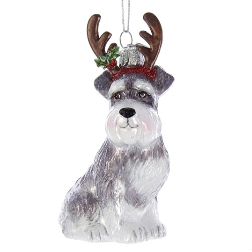 Noble Gems Schnauzer with Antlers Glass Ornament
