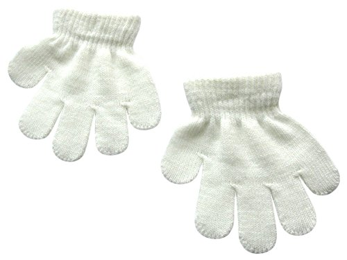 BaiX Toddler Boys and Girls Winter Knitted Writing Gloves, 1-3 Years Old, White -