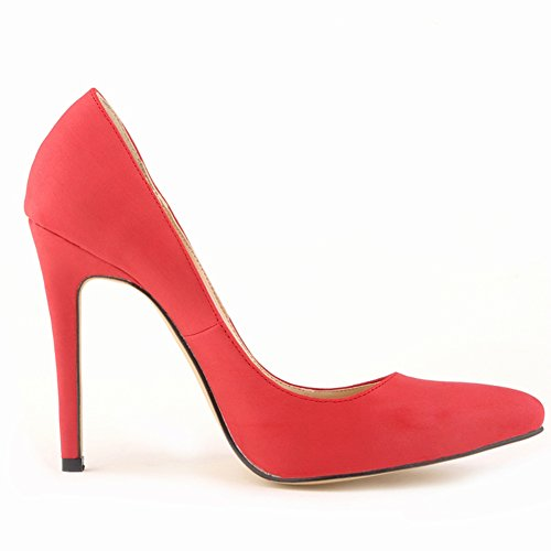 Thin Toe Dress High Bridesmaid Shoes Suede Wedding Red Party Dethan Heel Pointed Prom Womens Pumps 4q7ItI