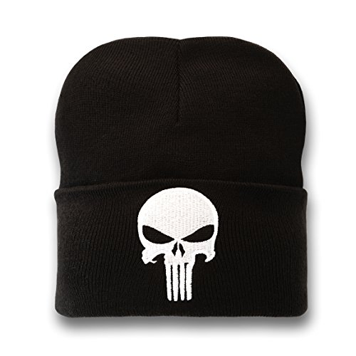 Marvel Comics - Punisher Logo Bonnet en laine hiver enfant - avec logo brodé - noir - Design original sous licence - LOGOSHIRT