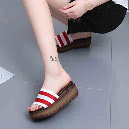 ocasionales de gruesas 7cm Zapatillas 4 sandalias colores frescas Sandalias manera la los Chanclas 1001 clases de cómodo MEIDUO femeninas aqzpwqI8