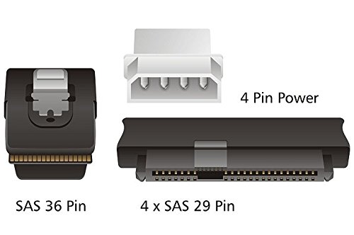 AYA 20'' Mini SAS 36-Pin SFF-8087 Male to SFF-8482 29-Pin Female + 4-Pin Power Cable by AYAGROUP (Image #3)'