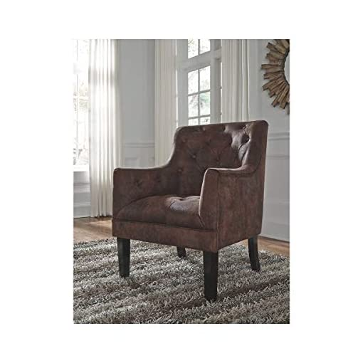 Farmhouse Accent Chairs Accent Chair Brown Solid Industrial Rustic Traditional Faux Leather farmhouse accent chairs