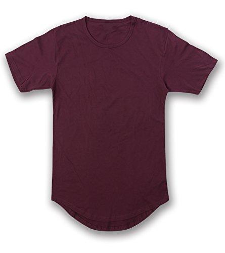 (JD Apparel Men's Hipster Longline Drop Cut T-Shirts L Wine AM1050)