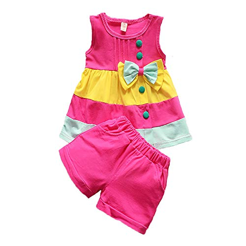 Summer Girls Set Toddler Clothes Sleeveless Vest+ Shorts 2 pcs Kids Rainbow Baby Childen Outfit Suit (red, 3T) ()