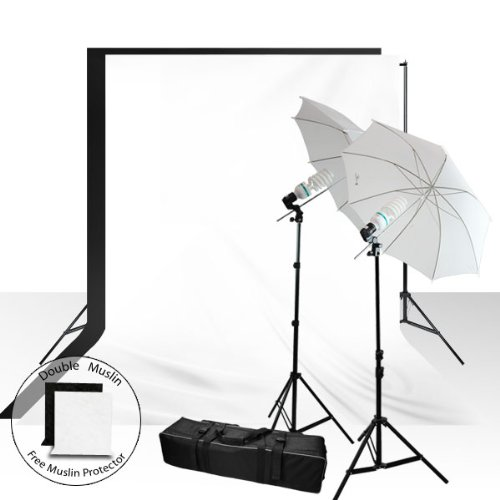 Limocomplete 400 Watt Umbrella Light Kit With 6 X 9 Ft. Muslin Background And Support Stand, Agg937 by LimoStudio