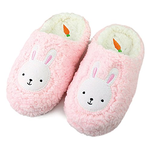 Komyufa Women Fur House Slippers Cozy Animal Home Slipper Fuzzy Bedroom Shoes Indoor Outdoor(S/ 5-6 B(M) US, Pink Bunny)