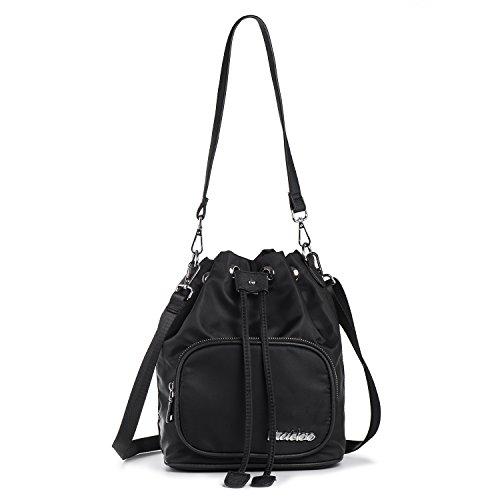 functional Nylon Women Bags Messenger Bag Handbags Pockets for Black Bag Travel Ladies Shoulder Bags Purse Satchel with Katloo Crossbody Multi Small Black pwUtwqx