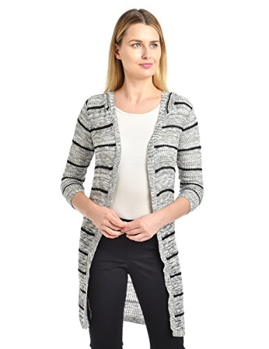 - Knit Minded Women's Striped Grey Marled ¾ Sleeve Cardigan with Hood, Black Stripe, X-Large