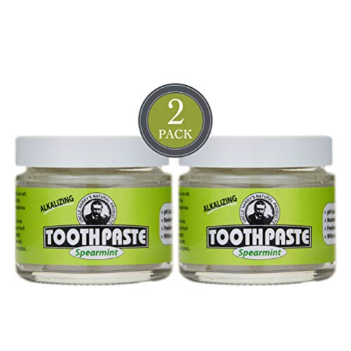 Uncle Harry's Natural & Fluoride-free Remineralizing Toothpaste - Freshens Breath & Strengthens Enamel - Spearmint (2 pack, 3 oz. jar)