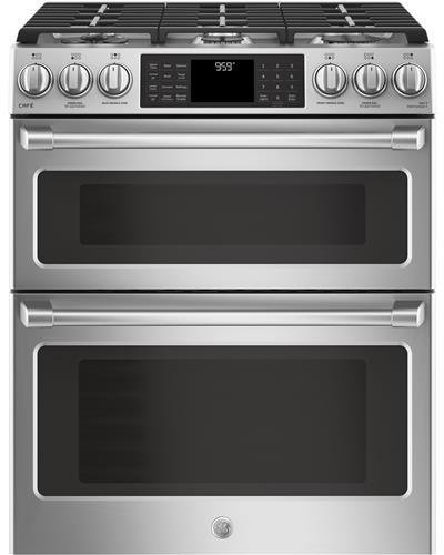 GE Cafe CGS995SELSS 30 Inch Slide-in Gas Range with Sealed Burner Cooktop, 6.7 cu. ft. Primary Oven Capacity in Stainless Steel (Steel Double Stainless Range Gas)