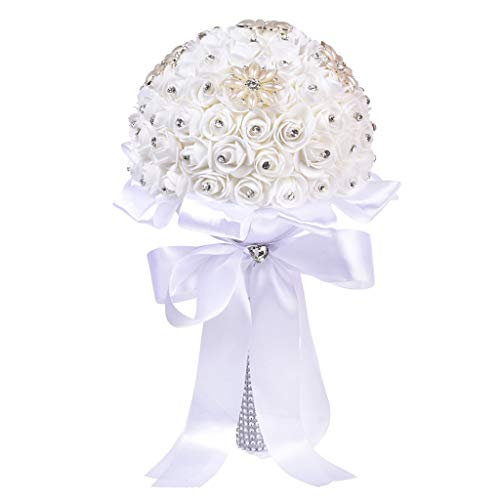 Maikouhai Holding Flowers, Crystal Roses Bride Bridesmaid Wedding Bouquet Bridal Artificial Silk Flowers Party Decor for Home Cafe Hotel Bedroom - Flannel & Plastic (A:20X35cm)