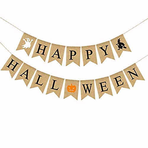 Happy Halloween Burlap Banner – Rustic and Country Style Halloween Decorations– 100% Natural – Indoor and Outdoor Halloween Garland – -