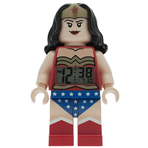 LEGO DC Comics 9009877 Super Heroes Wonder Woman Kids Minifigure Light Up Alarm Clock  | red/blue | plastic | 9.5 inches tall | LCD display | boy girl | - Clock The Superhero