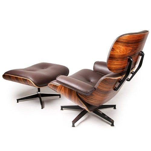 - Modern Sources - Mid Century Recliner Lounge Chair with Ottoman Real Wood Genuine Italian Leather Eames Replica (Brown/Palisander)