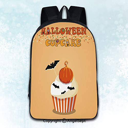 Durable Double Shoulder Bag Rucksack, Cute happy halloween cupcake with pumpkin and bats on orange bac Theme Artwork Print Decorations Multicolor 16 inches,Multipurpose Use Travel Backpack]()