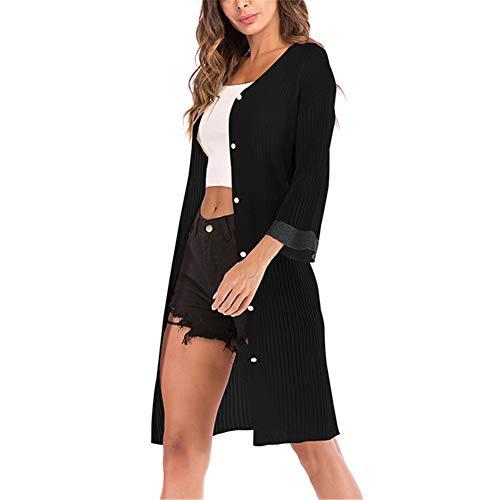 Estate Tops Bohemian Missmaom Nero Cardigan Kimono Size Giacche Plus Donna Primavera Capispalla Lungo Knit Jersey PqwSXFw