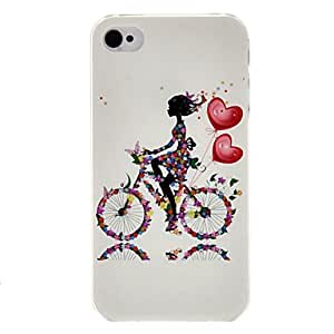 Girl on the Bicycle Pattern Transparent Frame PC Case for iPhone 4/4S