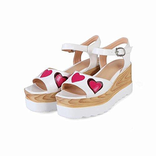 Bedel Voet Teen Dames Sweet Open Teen Platform Sleehak Enkelband Sandalen Wit
