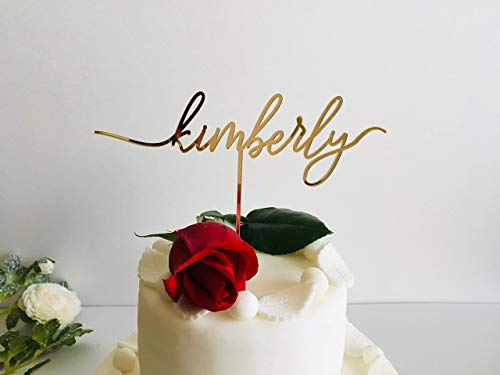 (Personalized Single Any Name Cake Topper Birthday Toppers Custom Cupcake Signs Bridal Wedding Cake Decorations Calligraphy Customized Birthday Party Baby Shower Decor Pachelorette Event Party Tags)