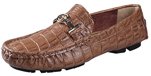 Salabobo QYY-8811 New Mens Leather Leisure Cozy Slip On Driving Bussiness Shoes Brown 0dYQMI3XtX
