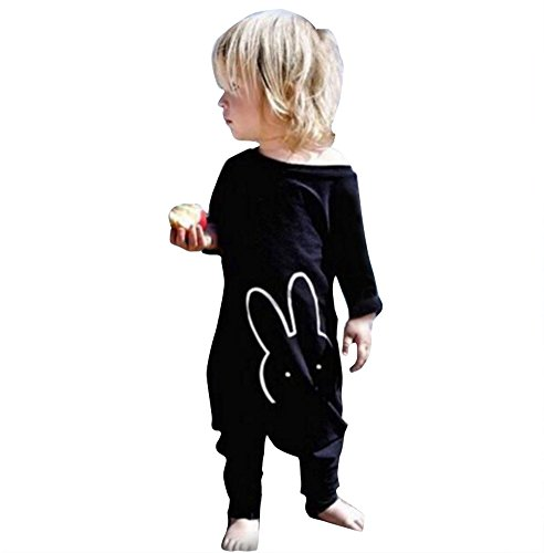 TheFound Baby Boy Girl Romper Bunny Printed Long Sleeve Jumpsuit Zipper Playsuit Outfits (Tag 100, Long Sleeve Black)