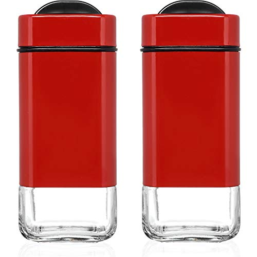 (CHEFVANTAGE Salt and Pepper Shakers Set with Adjustable Pour Holes - Red)